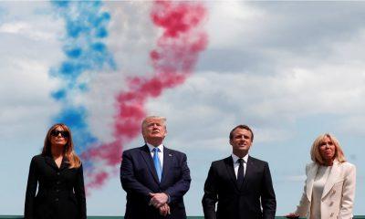 Melina e Donald Trump participam das comemorações junto com Emmanuel e Brigitte Macron