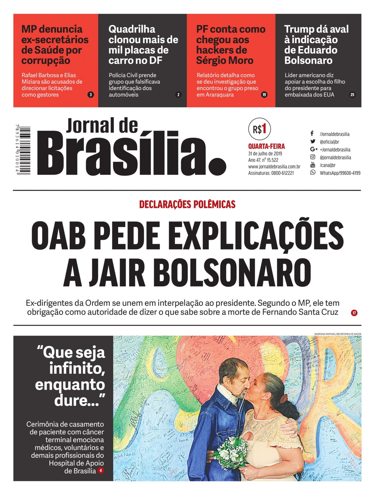 Edição Digital do Jornal de Brasília impresso, publicado em 31 de julho de 2019