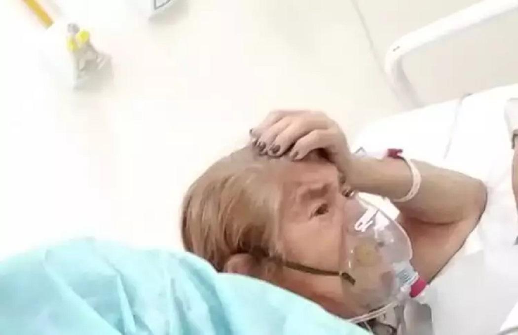 Avó de Michelle Bolsonaro volta a usar máscara nebulizante