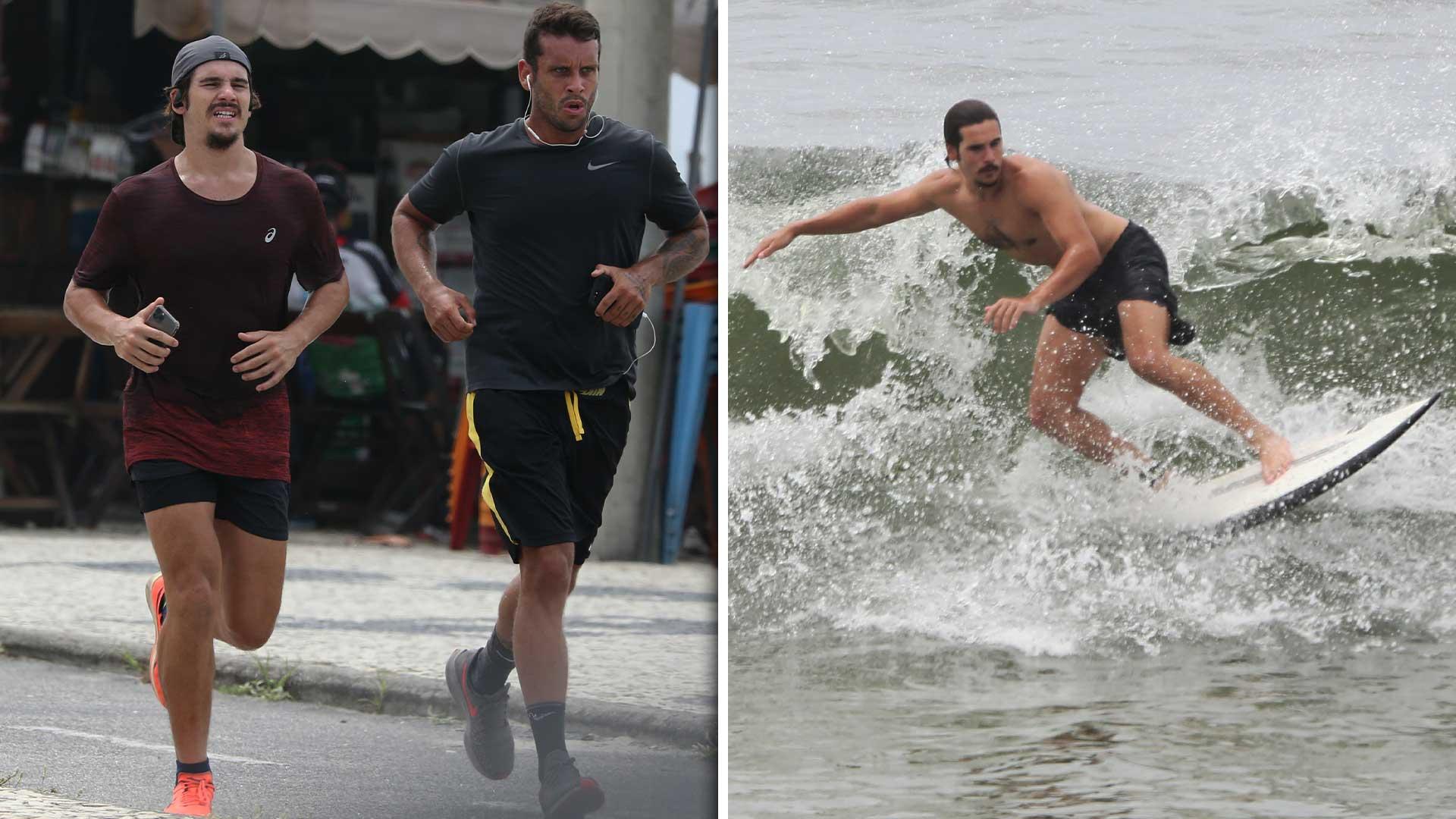 Nicolas Prattes corre na orla e depois surfa na praia da Barra da Tijuca. Foto: Dilson Silva / AGNews