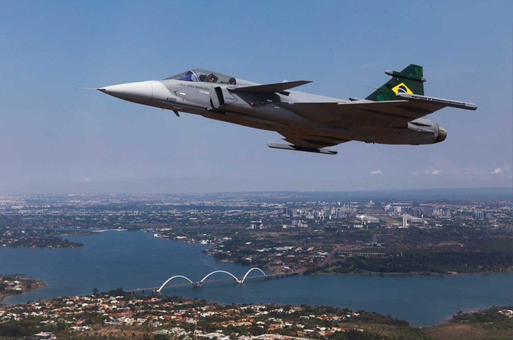 Caça F-39 Gripen. Foto: Sgt. Johnson/ Força Aérea Brasileira